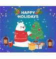 christmas cartoon new year polar bear in winter vector image
