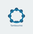 colored tambourine icon silhouette icon vector image