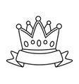crown with ribbon black and white vector image