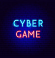 cyber game neon text vector image vector image