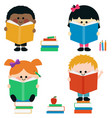 diverse group kids reading books vector image vector image