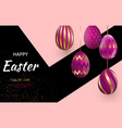 easter card with gold ornate pi eggs on a dark vector image vector image