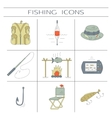 Fishing color icons vector image vector image