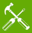 hammer and screwdriver icon green vector image vector image