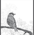 hand drawn bird on branch vector image vector image