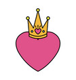 heart love with queen crown valentines card vector image vector image