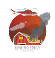 helicopter extinguishes fire vector image vector image