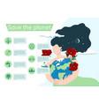 infographics save planet woman hugs vector image