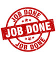 job done round red grunge stamp vector image vector image