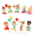 little children birthday celebration party with vector image vector image