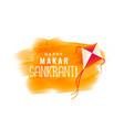 makar sankranti watercolor banner with flying kite vector image vector image