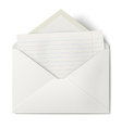 opened envelope with lined sheet paper inside vector image vector image