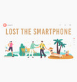 people lose their gadgets landing page template vector image vector image