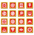 pizza icons set red vector image vector image