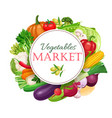 poster round composition with colorful vegetables vector image vector image