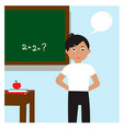 schoolboy near the blackboard don t know the vector image vector image