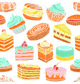 Seamless colorful pattern with cupcakes cakes and