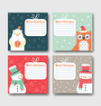 set of postcards happy christmas vector image