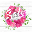 summer sale lettering with blooming flowers vector image vector image