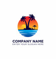 sunset logo design template vector image vector image