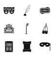 Theatre icons set simple style vector image vector image