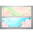 Two flowers banners on green marine background vector image vector image