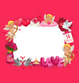valentines day frame hearts cupids and gifts vector image vector image
