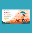 woman walking a dog in autumn with umbrella vector image vector image