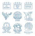 world peace day line icon set vector image vector image