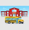 yellow bus in front school building vector image vector image