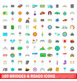 100 bridges and roads icons set cartoon style vector image vector image