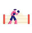 athletic man in sportswear and boxing gloves stand vector image