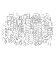 big city view from the top sketch hand drawn vector image vector image