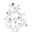 Black and White Cartoon Christmas Tree with vector image