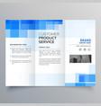 blue square geometric trifold brochure design vector image vector image