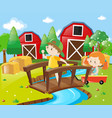 boy and girl in the farmyard vector image vector image