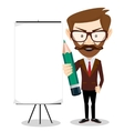 Businessman with a poster and pencil vector image vector image