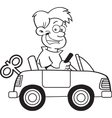 Cartoon boy driving a toy car vector image vector image