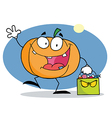 Cartoon Character Pumkin With Bag vector image vector image