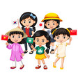 children holding flag of different countries vector image vector image