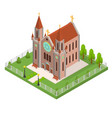 christian catholic church concept 3d isometric vector image