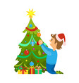 christmas holidays new years eve tree decoration vector image vector image