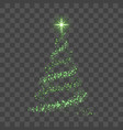 christmas tree on transparent background green vector image vector image
