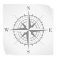 Compass rose over white paper sticker isolated on