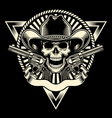 cowboy skull with revolver vector image vector image