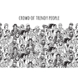 Crowd of trendy people black and white vector image vector image