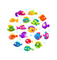 cute colorful tropical fishes round shape vector image vector image