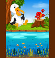 cute pelican and lobster in the river vector image vector image