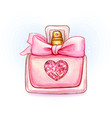 cute pink watercolor perfume bottle with heart vector image vector image