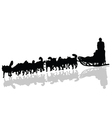dogs pulling a sled in black silhouette vector image